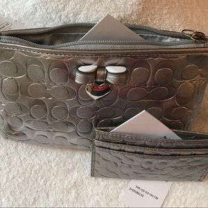 Coach set, silver wristlet and card wallet